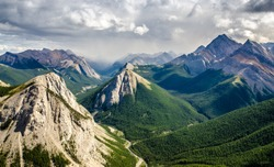 Mountain range landscape view in Jasper NP, Rocky Mountains, Canada