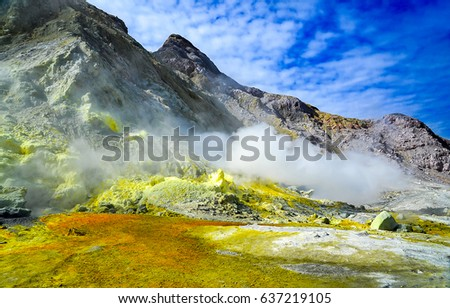 Mountain range landscape. White island, Tarawera volcano in New Zealand #637219105