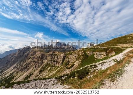 Mountain range of Cadini di Misurina and Sorapiss. Panorama from Tre Cime di Lavaredo or Drei Zinnen, Sesto, Braies and Ampezzo Dolomites. Auronzo di Cadore, Belluno province, Veneto, Italy, Europe. Stok fotoğraf ©