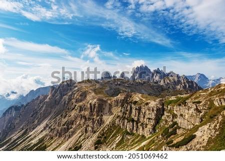 Mountain range of Cadini di Misurina and Sorapiss. Panoramic view from Tre Cime di Lavaredo, Sesto, Braies and Ampezzo Dolomites. Auronzo di Cadore, Belluno province, Veneto, Italy, Europe. Stok fotoğraf ©