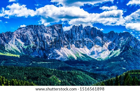 Mountain range sky clouds landscape. Clouds sky over mountain peak edge. Mountain edge panorama. Mountain edge rock view