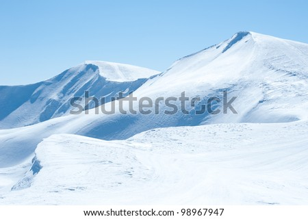 Mountain Range Snow and the clear blue sky