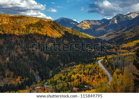 Mountain range with Fall color in Colorado