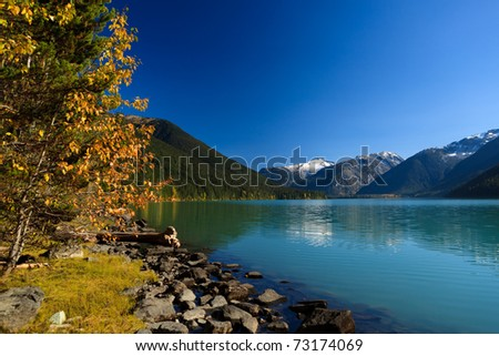 Mountain reflection on Cheakamus Lake at fall.