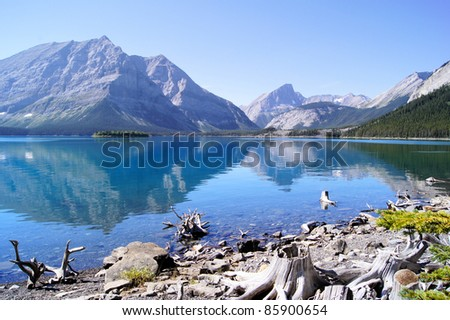 Mountain reflections in a cool blue lake in the Canadian Rockies