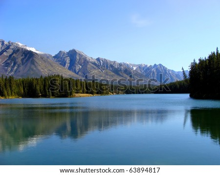 Mountain reflections on Two Jack Lake, Banff, Canada - stock photo