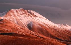 Mountain ridge peak snow landscape. Mountain ridge. Mountain peak snow. Mountain ridge landscape