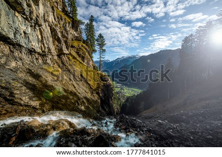 Mountain river canyon. River canyon in mountains. Mountain waterfall river stream