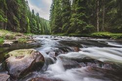 Mountain river flowing in a deep green forrest. Long exposere, water flow in motion. Creek in deep Alaska like forrest.