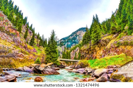 Mountain river landscape. River mountain view. Mountain river stream landscape. Mountain river valley scene