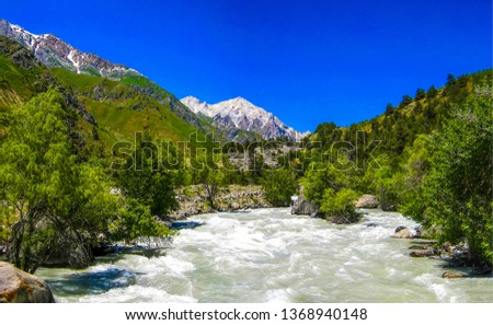 Mountain river landscape. River mountain view. Mountain river valley landscape. Mountain river rapid