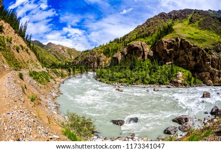 Mountain river landscape. Wild river in mountain canyon panorama. Mountain river in mountain valley view