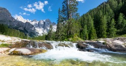 Mountain river on Dolomites Mountain, landscape from Fiemme and San Martino Valley (Val Venegia), italian alps