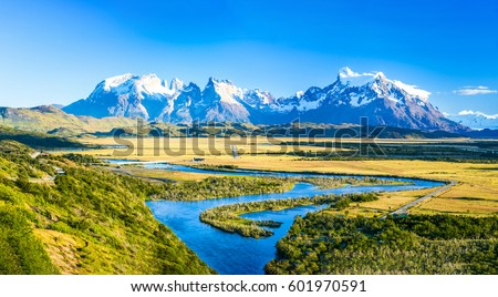Mountain river panorama landscape. Mountain river and snow covered mountains background