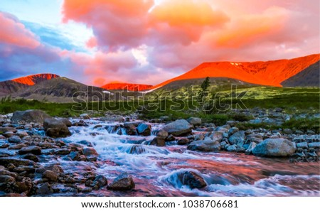Mountain river rapid background sunset natural landscape