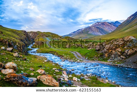 Mountain river stream landscape. River stream mountain landscape