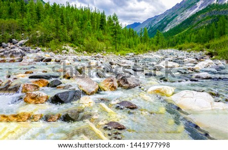 Mountain river stream rocks view. Mountain river landscape. Mountain river rocks. Mountain river stream rocks