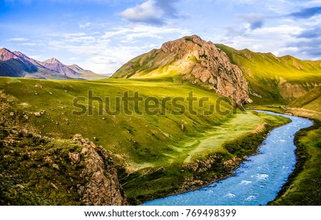mountain river stream valley...
