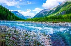 Mountain river stream wild landscape