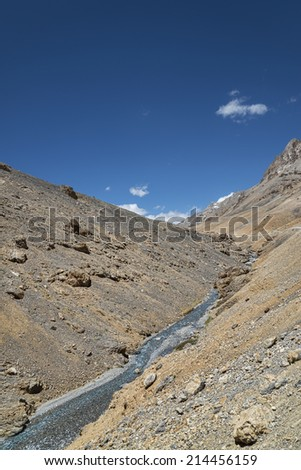 Mountain river streaming in ravine