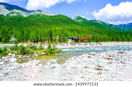 Mountain river valley helicopter landscape. Helicopter on mountain river valley landscape. Mountain river helicopter view. Mountain river landscape
