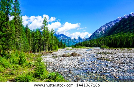 Mountain river valley landscape. Mountain river stream valley. River valley in mountains. Mountain river valley view