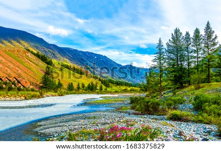 Mountain river valley landscape. River valley in mountains. Mountain river valley view. Mountain river valley