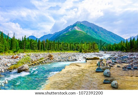 Mountain river valley panorama landscape. River valley in mountains. Mountain river stream view