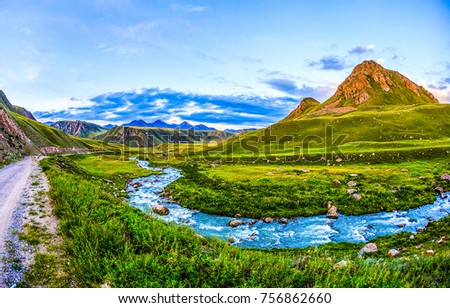 Mountain river valley panoramic landscape #756862660