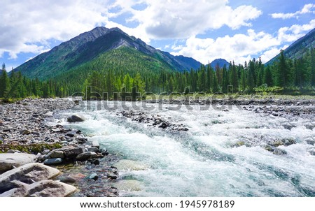 Mountain river valley water flowing. River wild in mountain valley