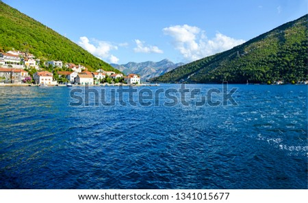 Mountain river water landscape. River water in mountains. Mountain river village landscape. Mountain river water view