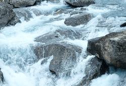 Mountain river waterfalls (Ottafossen, Norge ). Nature background.