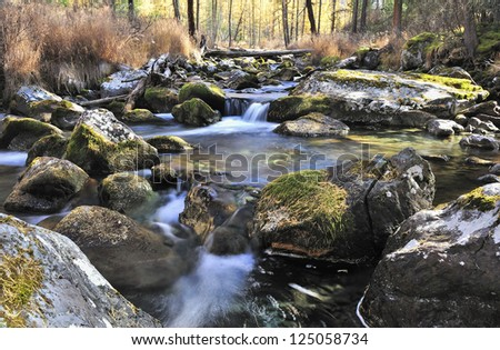 Mountain river, West Siberia, Altai mountains, Katun ridge.