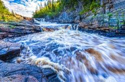 Mountain river wild water flow