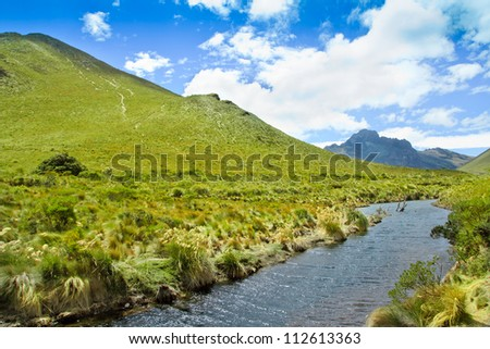 Mountain, river with blue sky and  clouds