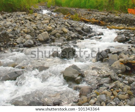 Mountain river with stones