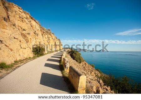 Mountain road above Altea Bay, Costa Blanca, Alicante, Spain