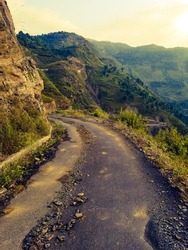 mountain  road  and landscape  view  during  monsoon