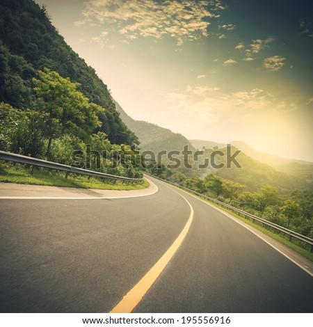 Mountain road at dusk