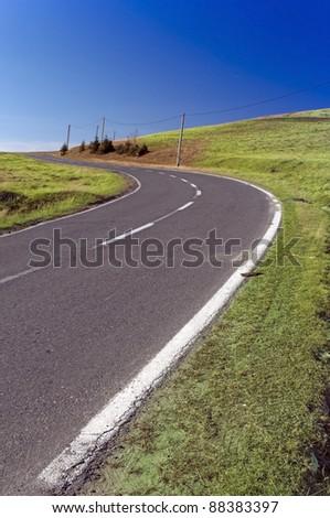 Mountain road curve in Romania - Transylvania