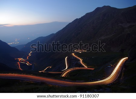 mountain road in night, Romanian Carpathians, Transfagarasan