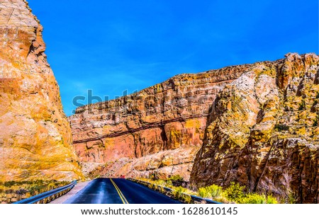 Mountain road in red rock canyon. Red rock canyon road. Mountain canyon road view. Mountain road