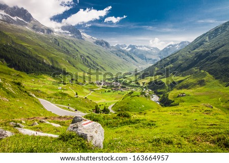 Mountain road in Swiss Alps Valley, Furka Pass, Switzerland, HDR #163664957