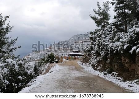 Mountain road in winter time Stok fotoğraf ©