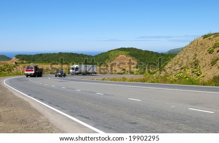 Mountain road on island Sakhalin by summer.