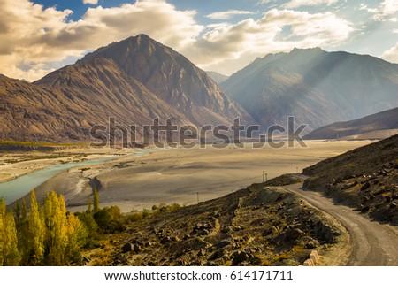 Mountain Road River, Nubra Valley, Leh, India.  - Shutterstock ID 614171711