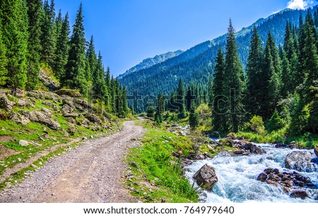 Mountain road scene at wild river landscape. River stream at mountain road landscape. Mountain scene landscape #764979640