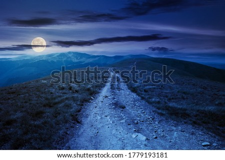 mountain road through grassy meadow at night. wonderful summer adventure in full moon light. clouds on the blue sky Imagine de stoc ©