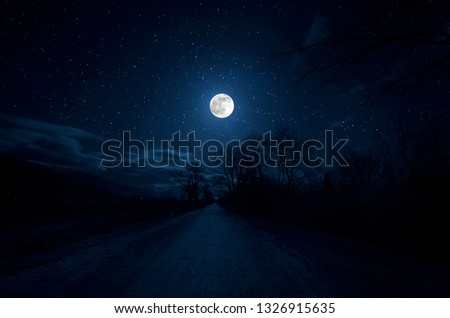 Mountain Road through the forest on a full moon night. Scenic night landscape of country road at night with large moon