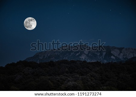 Mountain Road through the forest on a full moon night. Scenic night landscape of dark blue sky with moon #1191273274